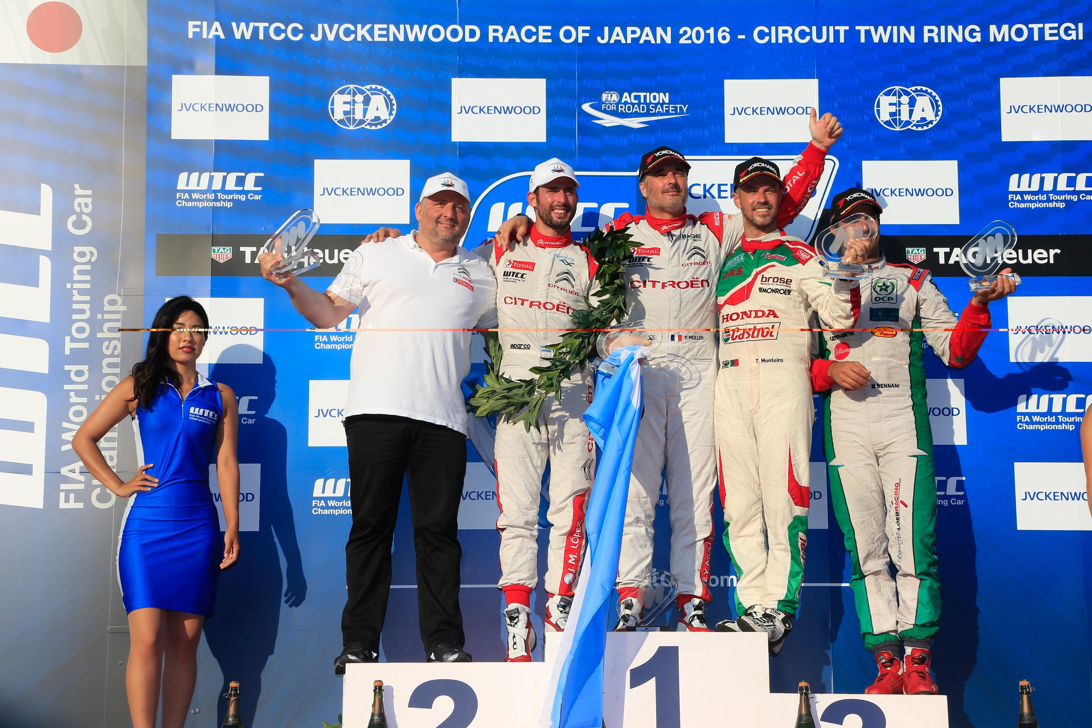 FIA WORLD TOURING CAR CHAMPIONSHIP 2016 - JAPAN - MOTEGI - WTCC - 01/09/2016 TO 04/09/2016 - PHOTO :  @World CITROEN TOTAL WTCC - YVES MATTON 68- YVAN MULLER - CITROEN TOTAL WTCC 37-JOSÉ MARIA LOPEZ - CITROEN TOTAL WTCC